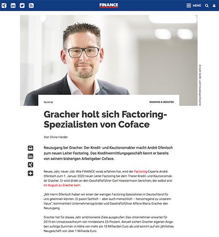 Gracher holt sich Factoring-Spezialisten von Coface